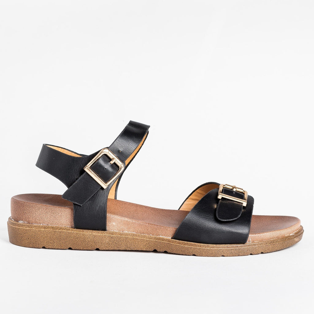 Womens Essential Buckled Sandals - Forever - Black / 5