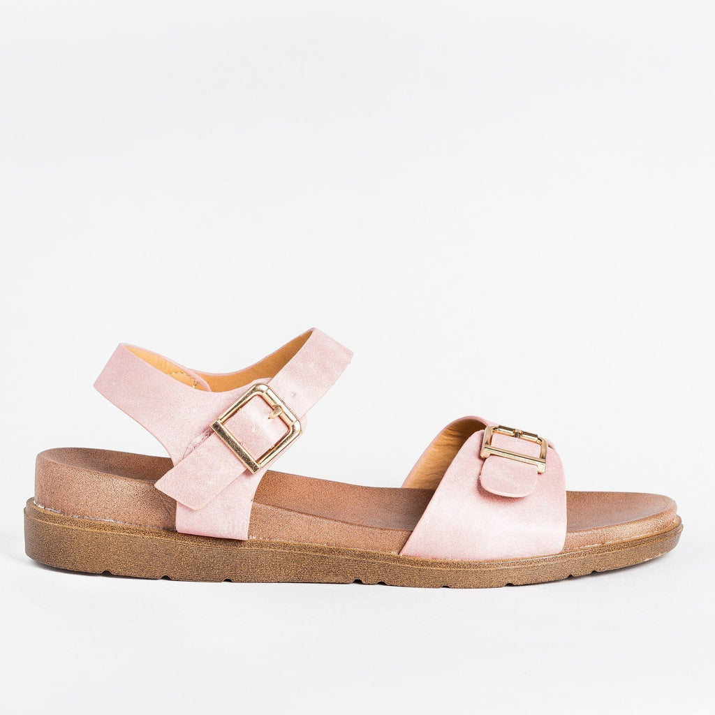 Womens Essential Buckled Sandals - Forever - Mauve / 5
