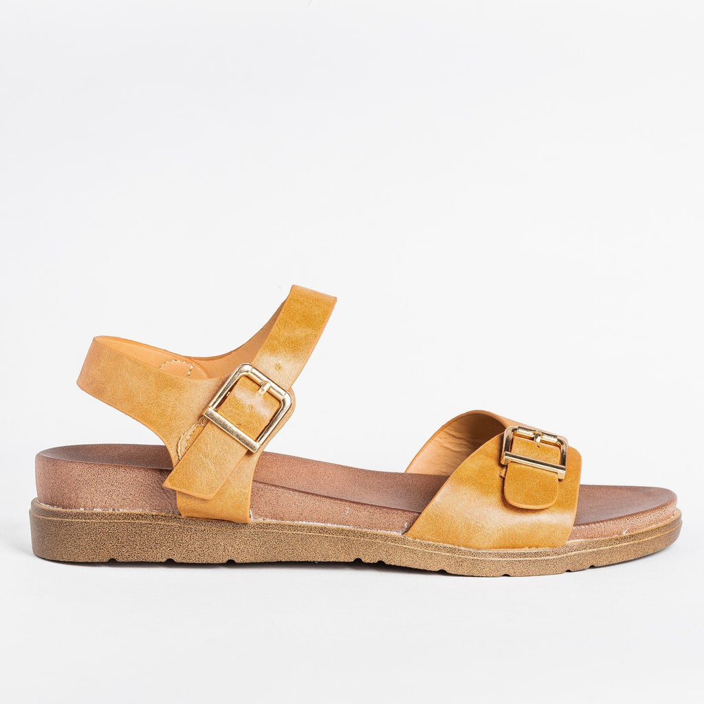 Womens Essential Buckled Sandals - Forever - Tan / 5
