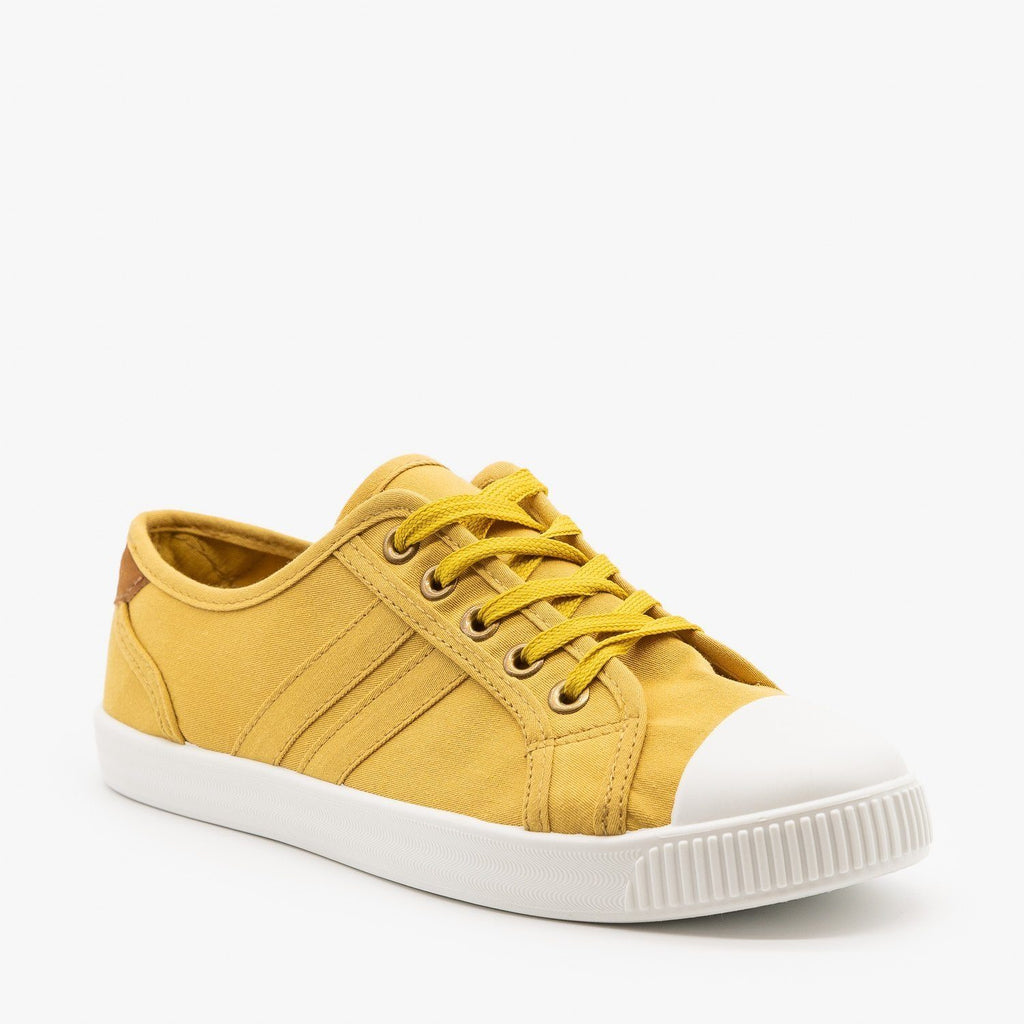 Womens Essential Colorful Sneakers - Top Moda - Mustard Yellow / 5