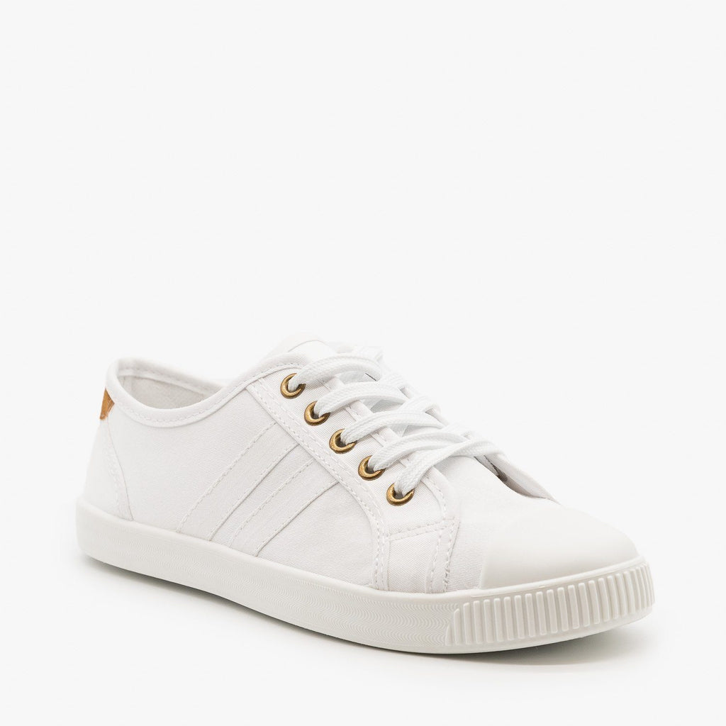 Womens Essential Colorful Sneakers - Top Moda - White / 5