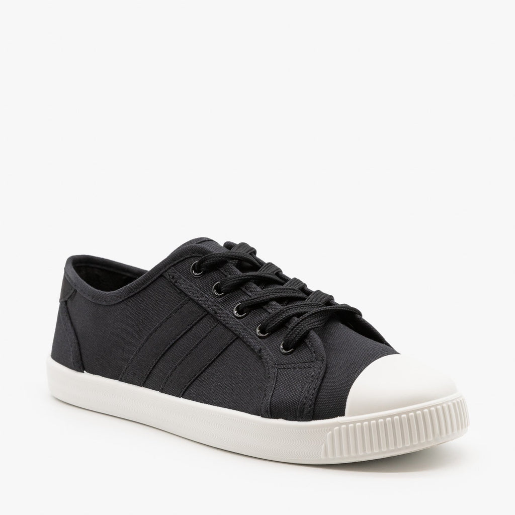 Womens Essential Colorful Sneakers - Top Moda - Black / 5