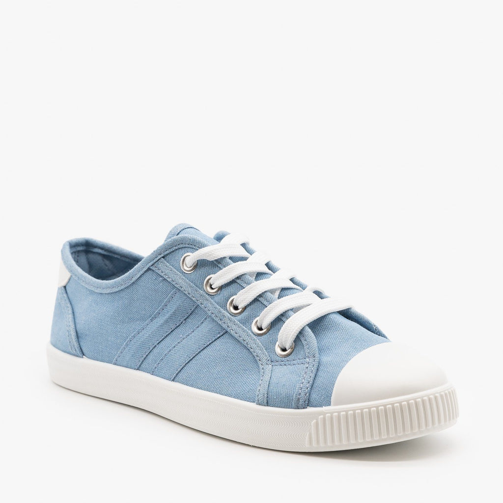 Womens Essential Colorful Sneakers - Top Moda - Blue Denim / 5