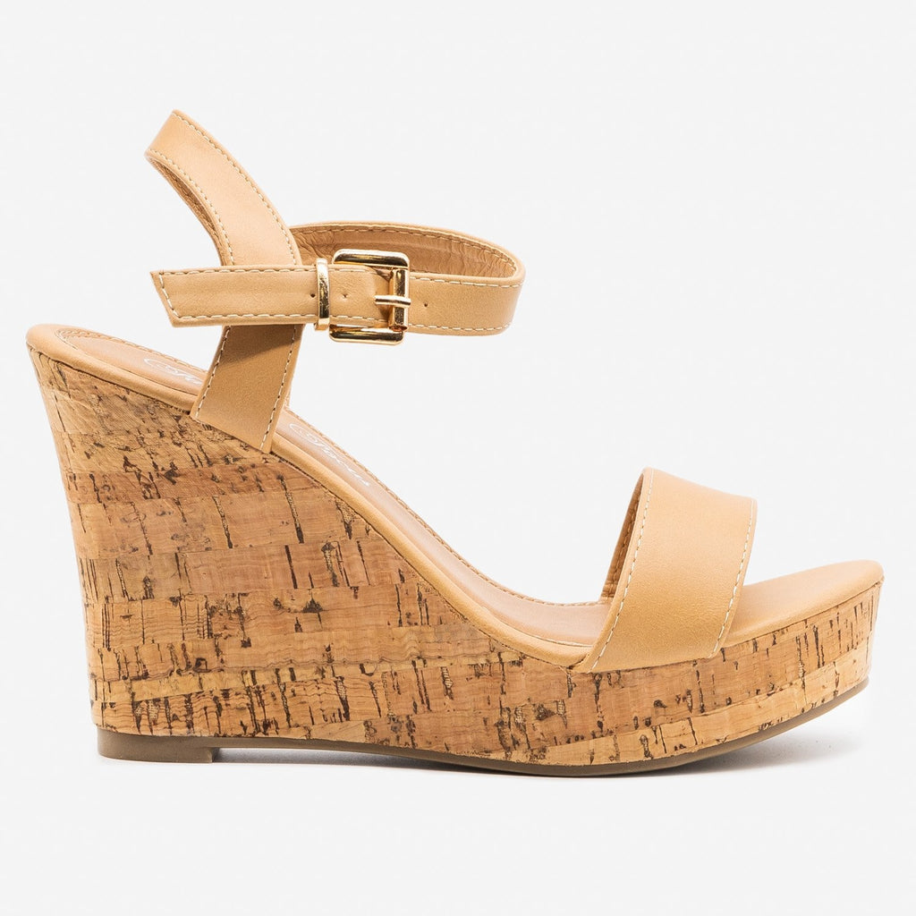 Women's Essential Cork Summer Wedges - Fashion Focus - Natural / 5