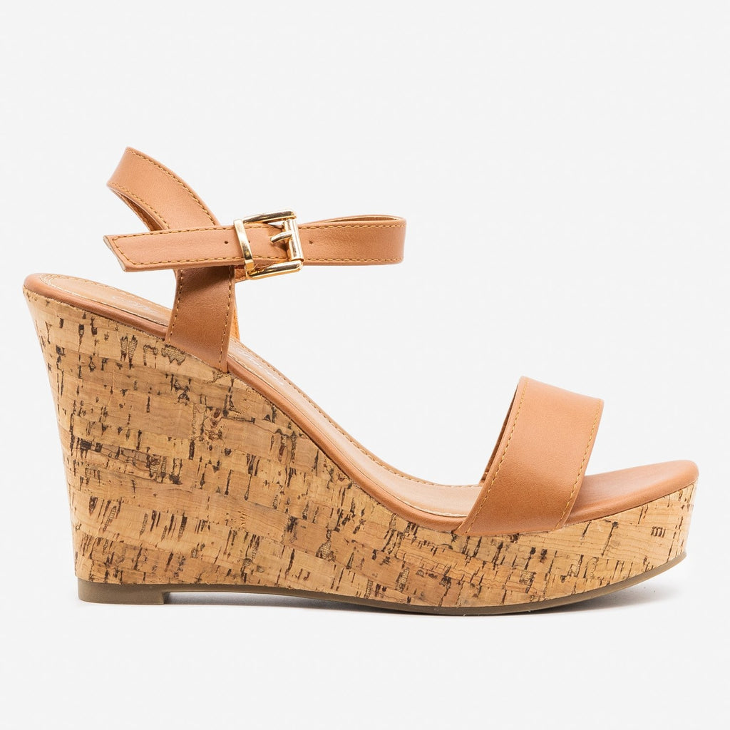 Women's Essential Cork Summer Wedges - Fashion Focus - Cognac / 5