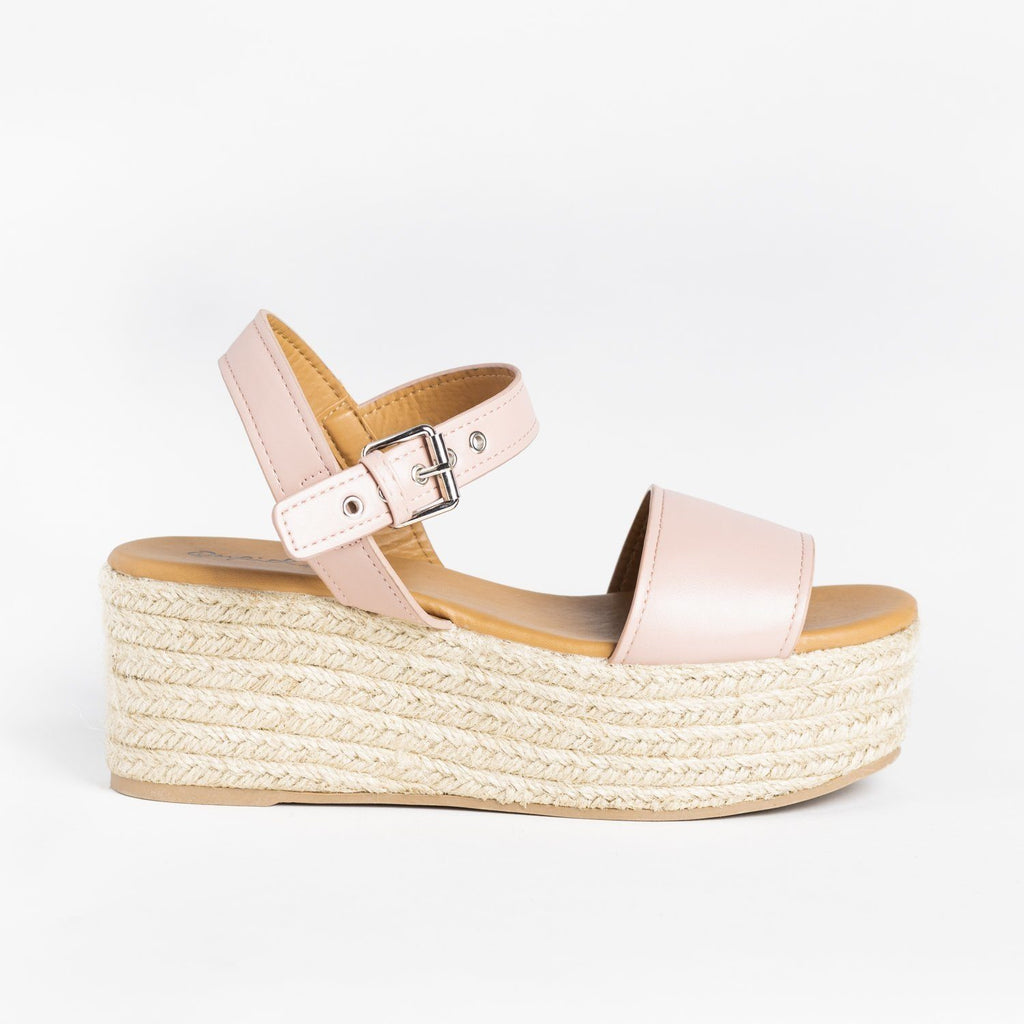Womens Essential Espadrille Summer Wedges - Qupid Shoes - Blush / 5