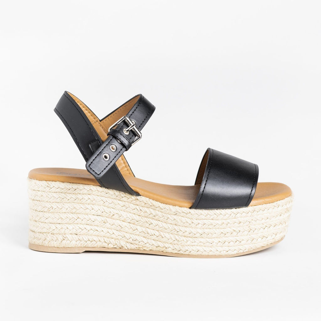 Womens Essential Espadrille Summer Wedges - Qupid Shoes - Black / 5