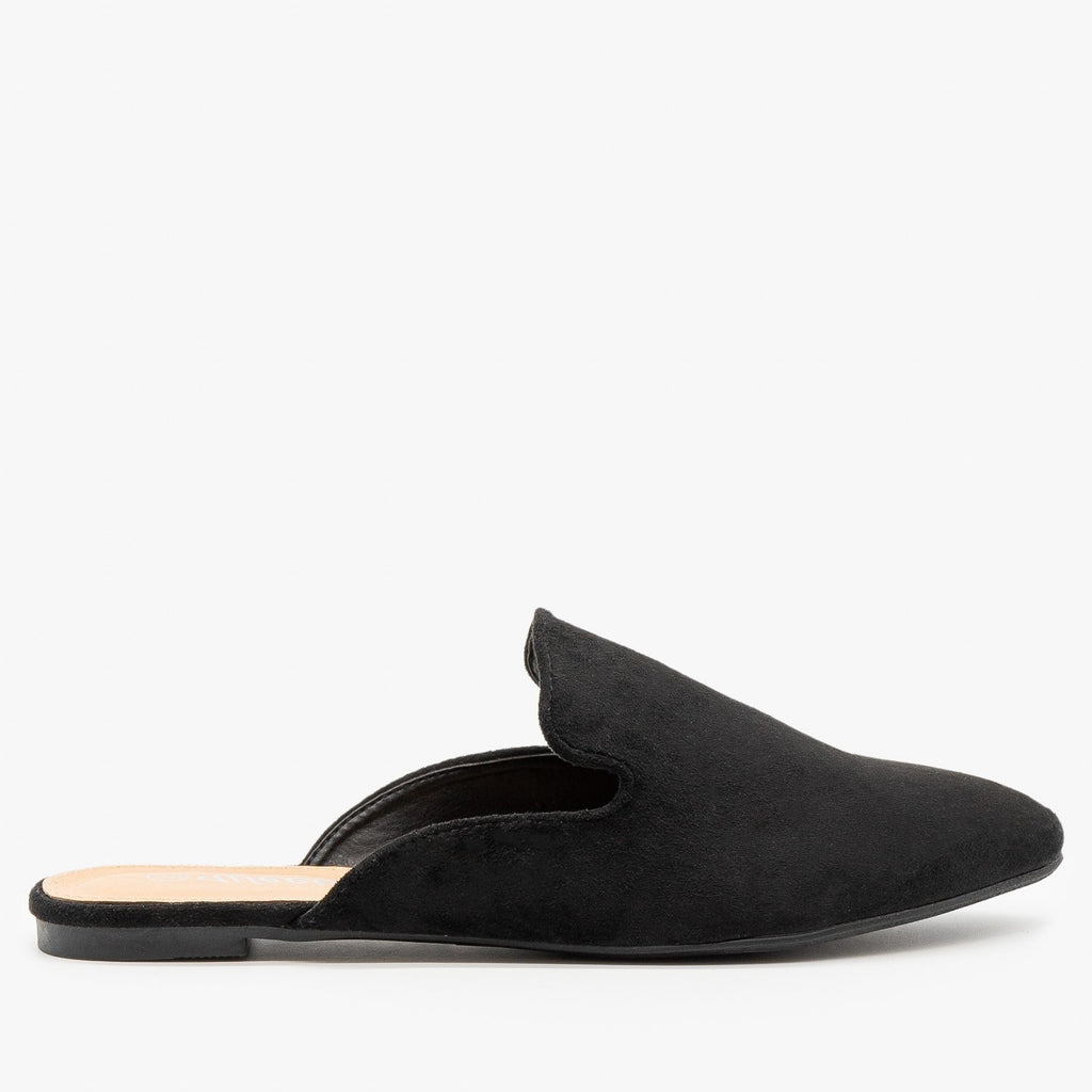 Womens Essential Faux Suede Mules - Weeboo - Black / 5