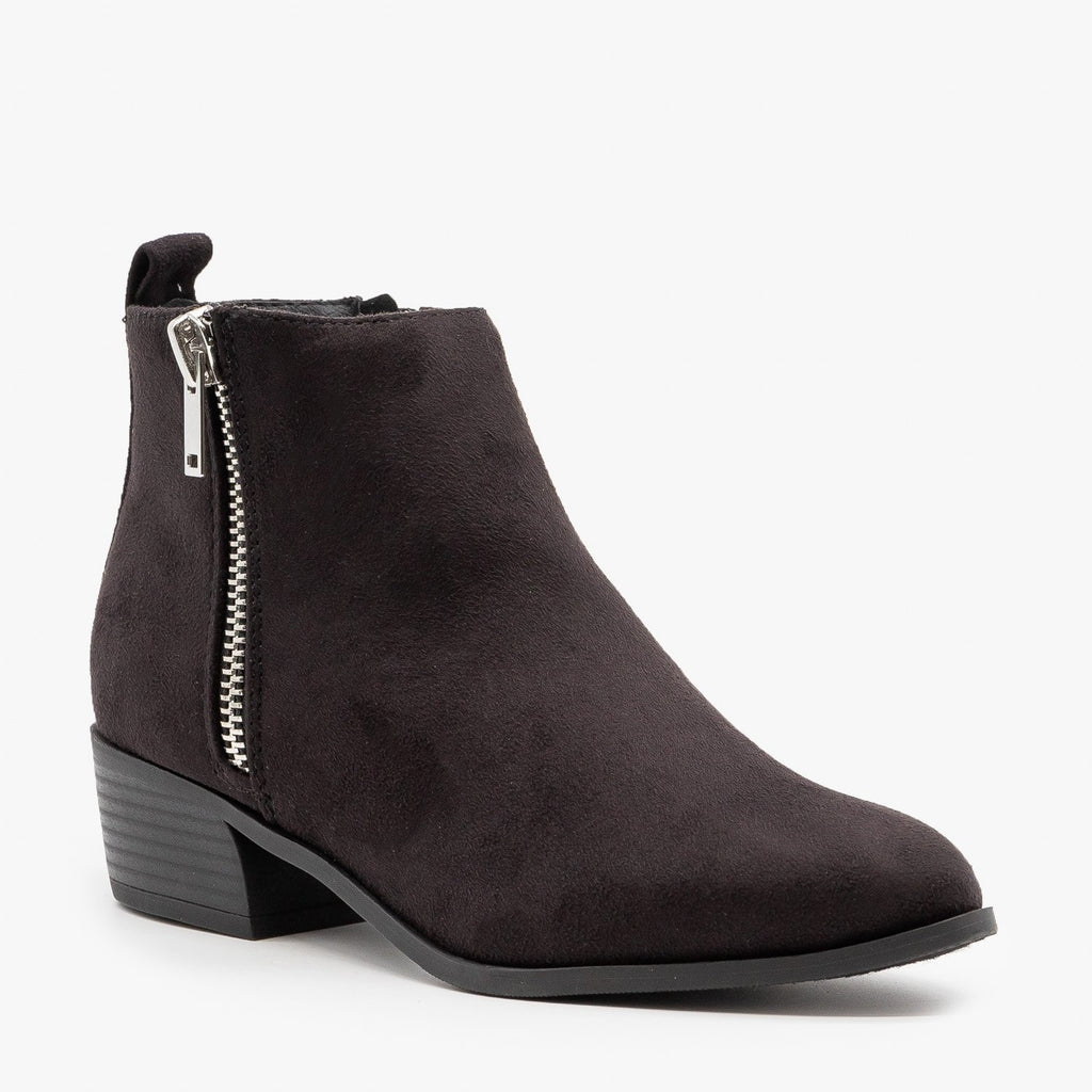 Womens Essential Faux Suede Zippered Booties - City Classified Shoes