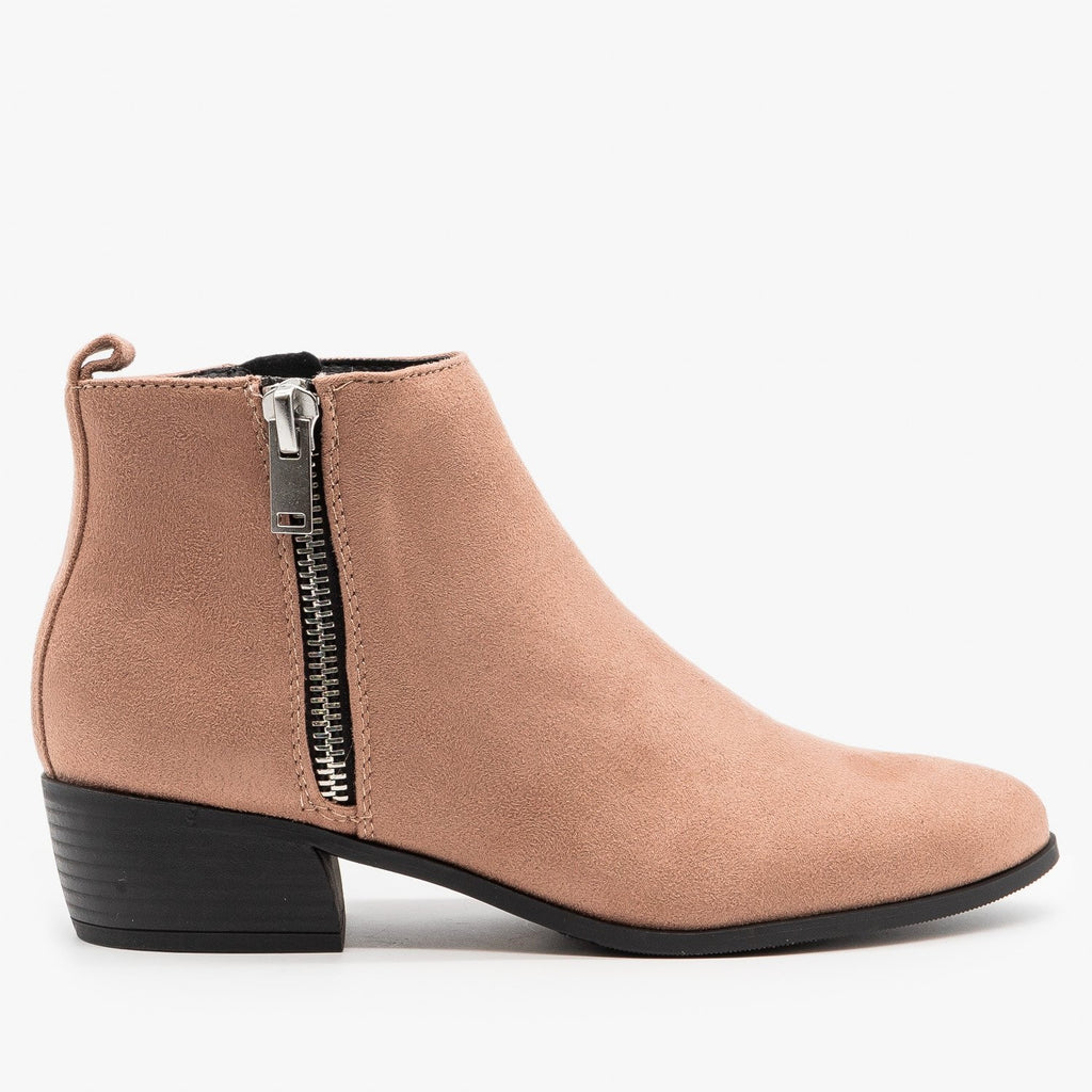 Womens Essential Faux Suede Zippered Booties - City Classified Shoes - Dark Blush / 5