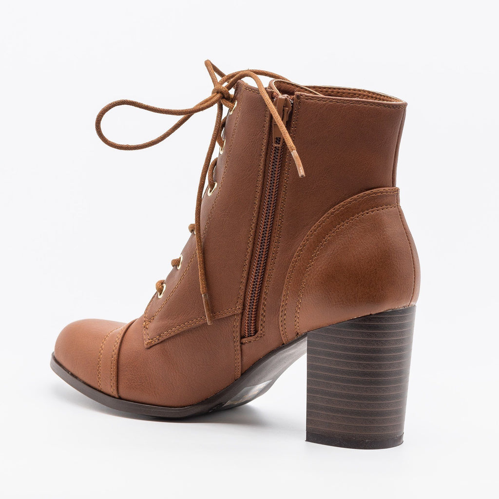 Womens Essential Lace-Up Ankle Booties - Wild Diva Shoes
