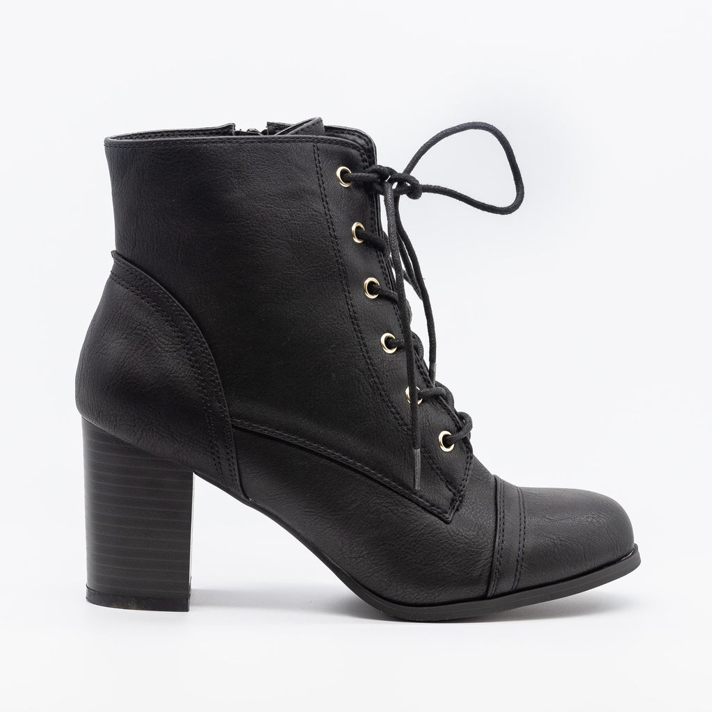 Womens Essential Lace-Up Ankle Booties - Wild Diva Shoes - Black / 5