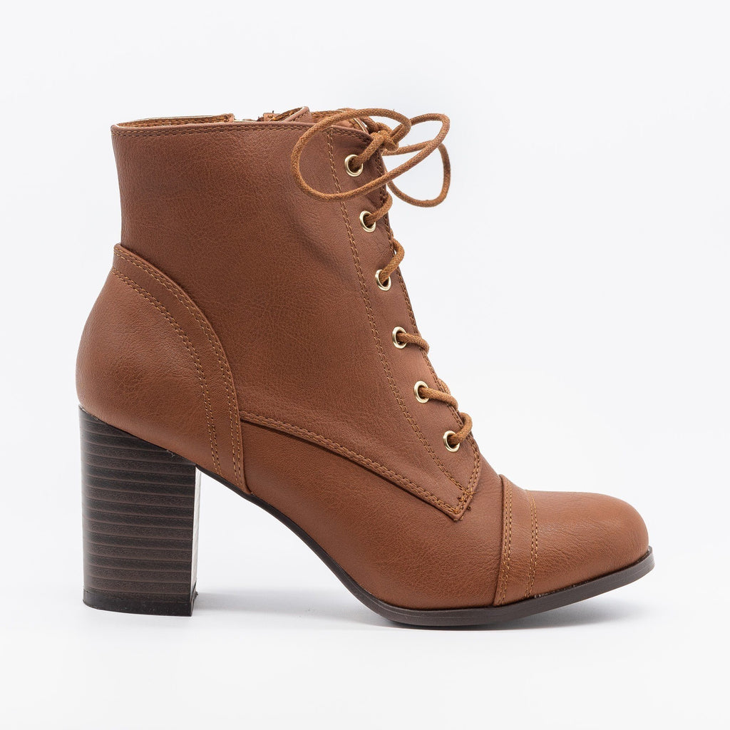 Womens Essential Lace-Up Ankle Booties - Wild Diva Shoes - Cognac / 5
