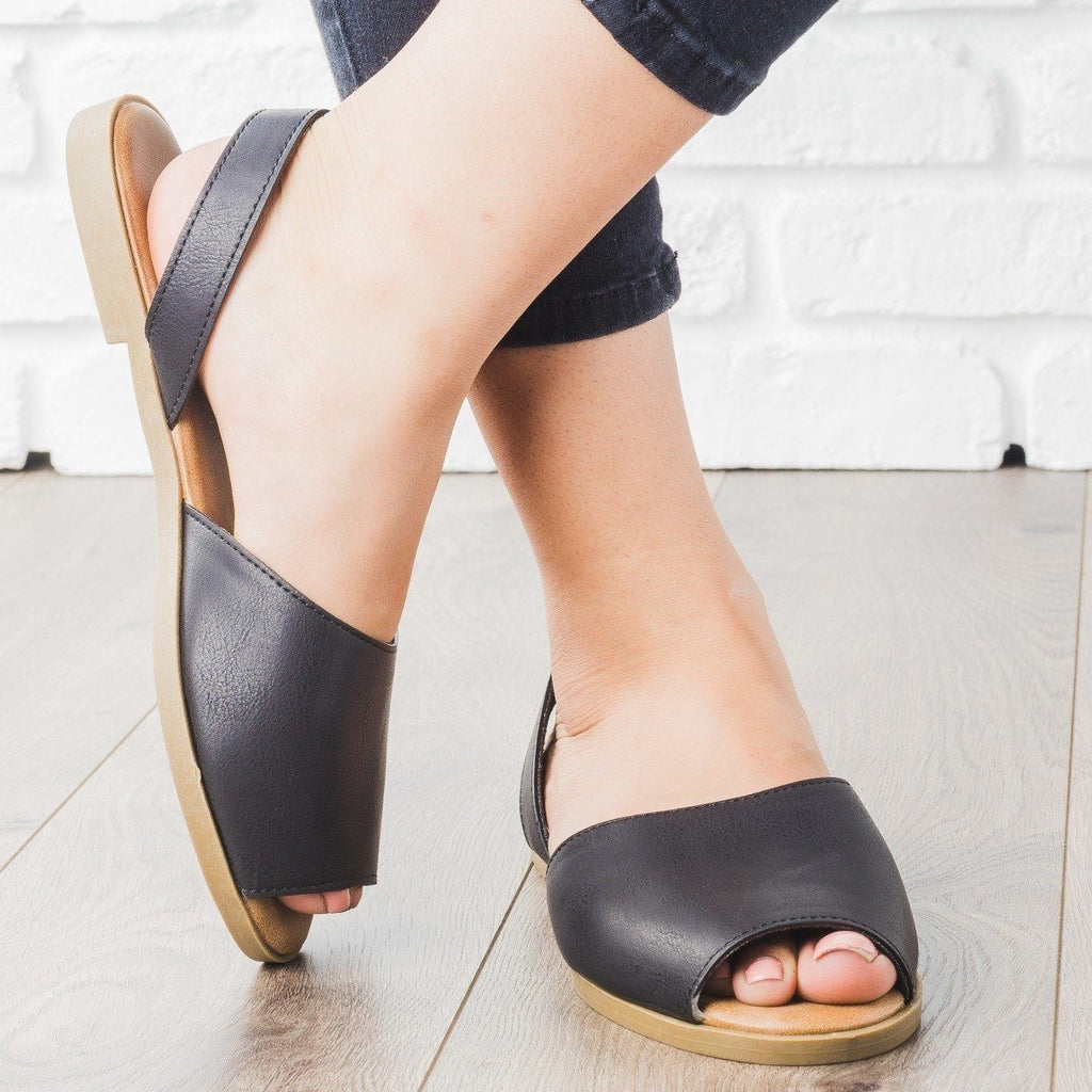 Womens Essential Peep Toe Sling-Back Sandals - Bamboo Shoes - Black / 8