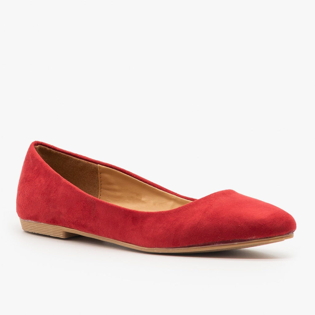 Womens Essential Pointed Toe Ballet Flats - Bella Marie - Red / 5
