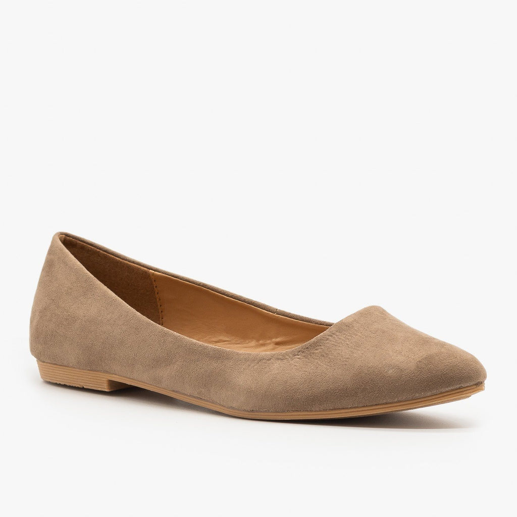 Womens Essential Pointed Toe Ballet Flats - Bella Marie - Taupe / 5