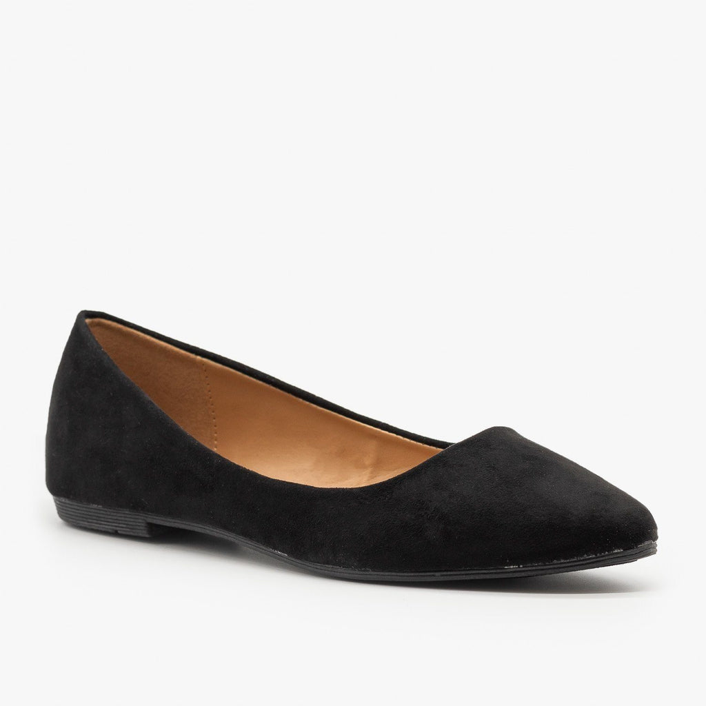 Womens Essential Pointed Toe Ballet Flats - Bella Marie - Black / 5