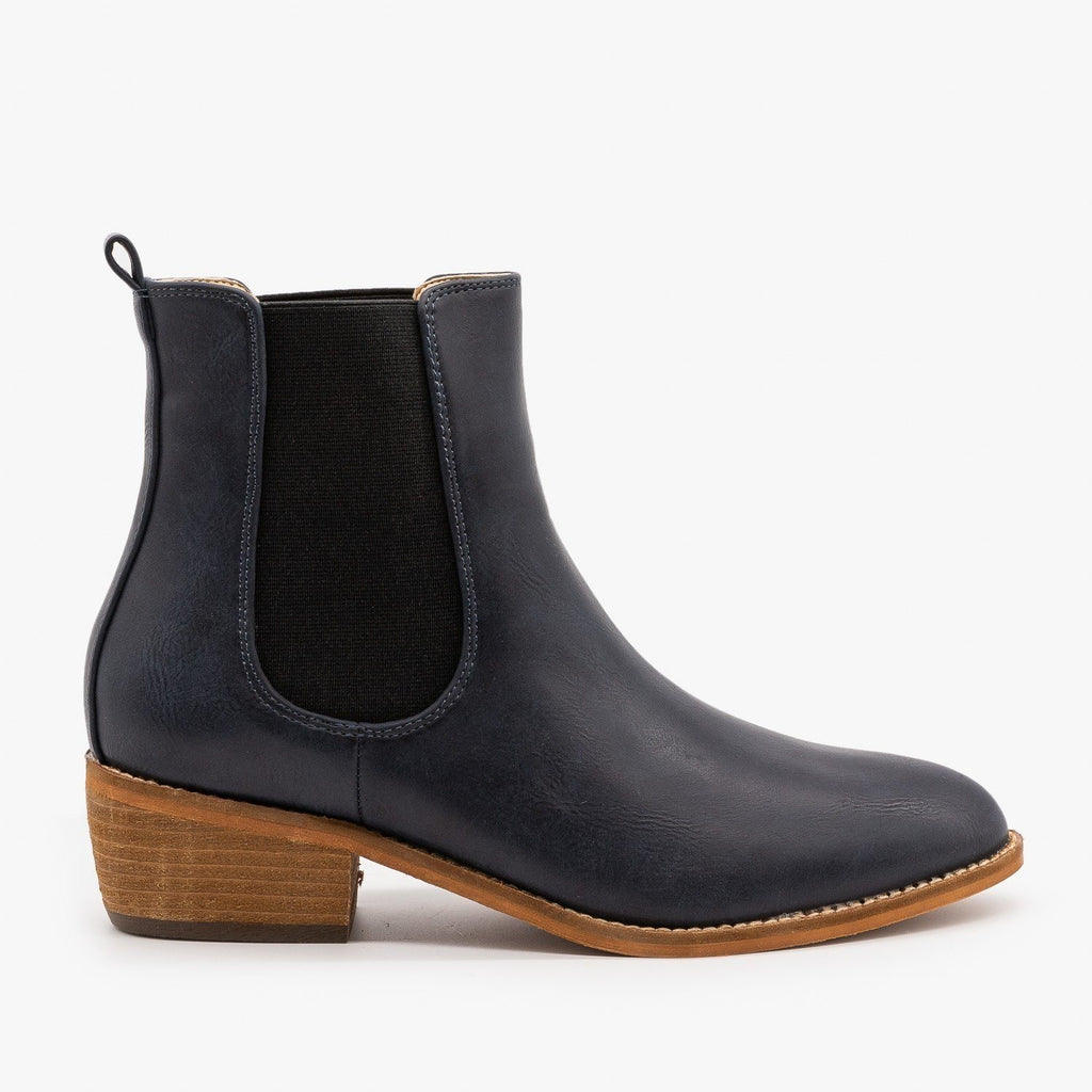 Womens Essential Slip On Ankle Booties - ARider Girl - Navy / 5