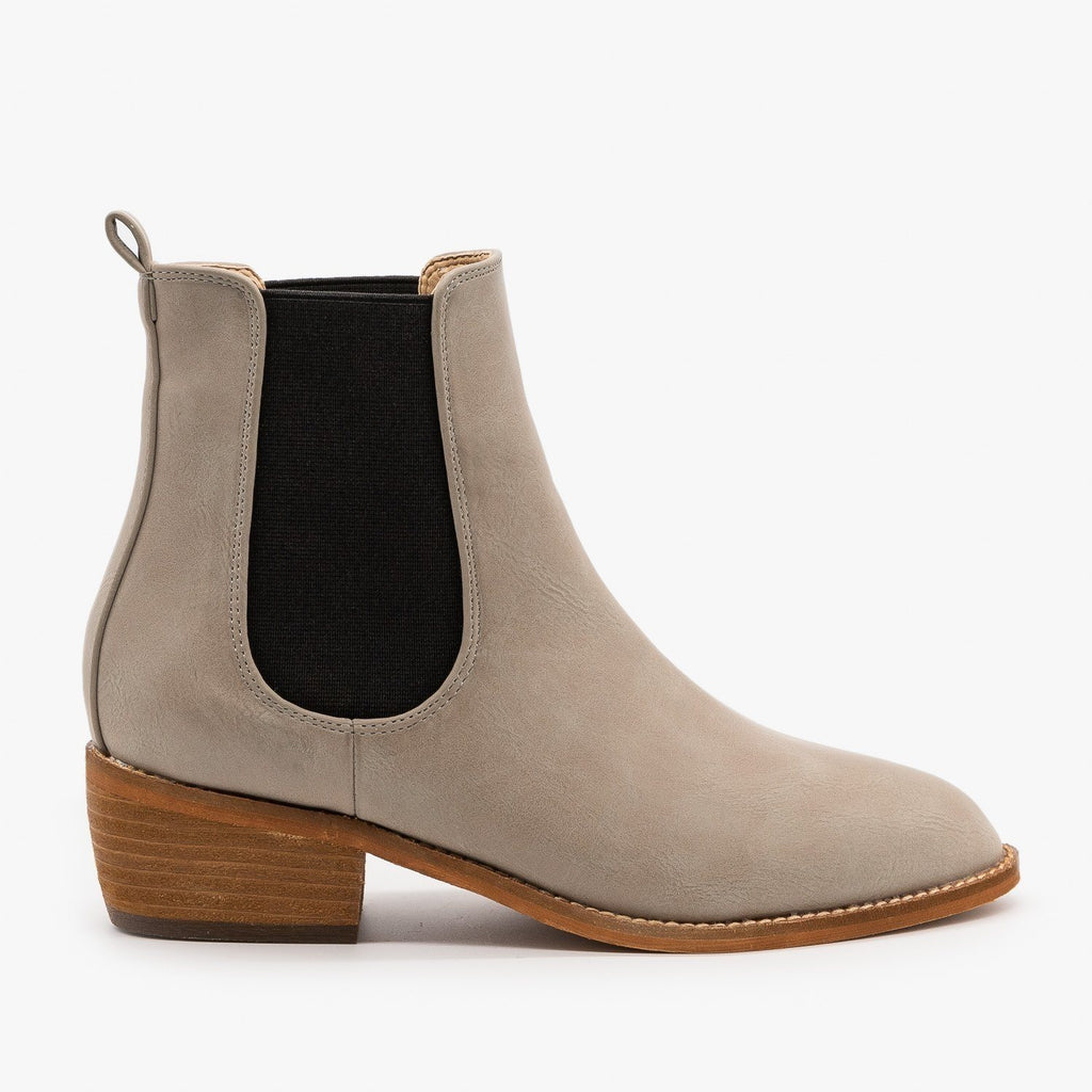 Womens Essential Slip On Ankle Booties - ARider Girl - Smoke Gray / 5