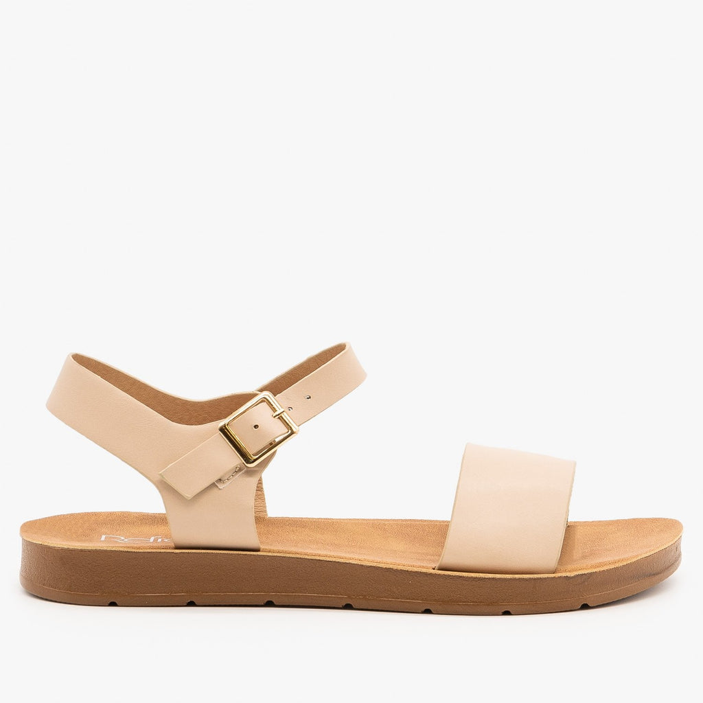 Womens Essential Summer Fashion Sandals - Refresh - Nude / 5