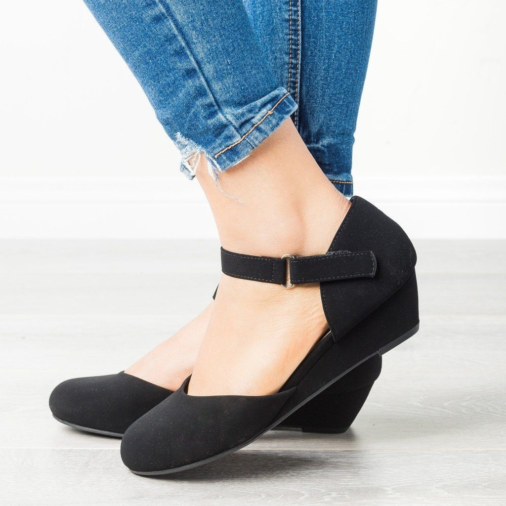 Womens Everyday Ankle Strap Wedges - City Classified Shoes