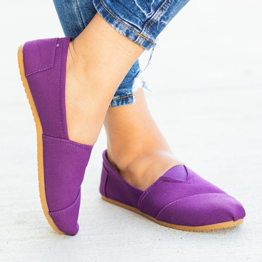 Womens Everyday Canvas Slip-On Flats - Refresh - Purple / 5