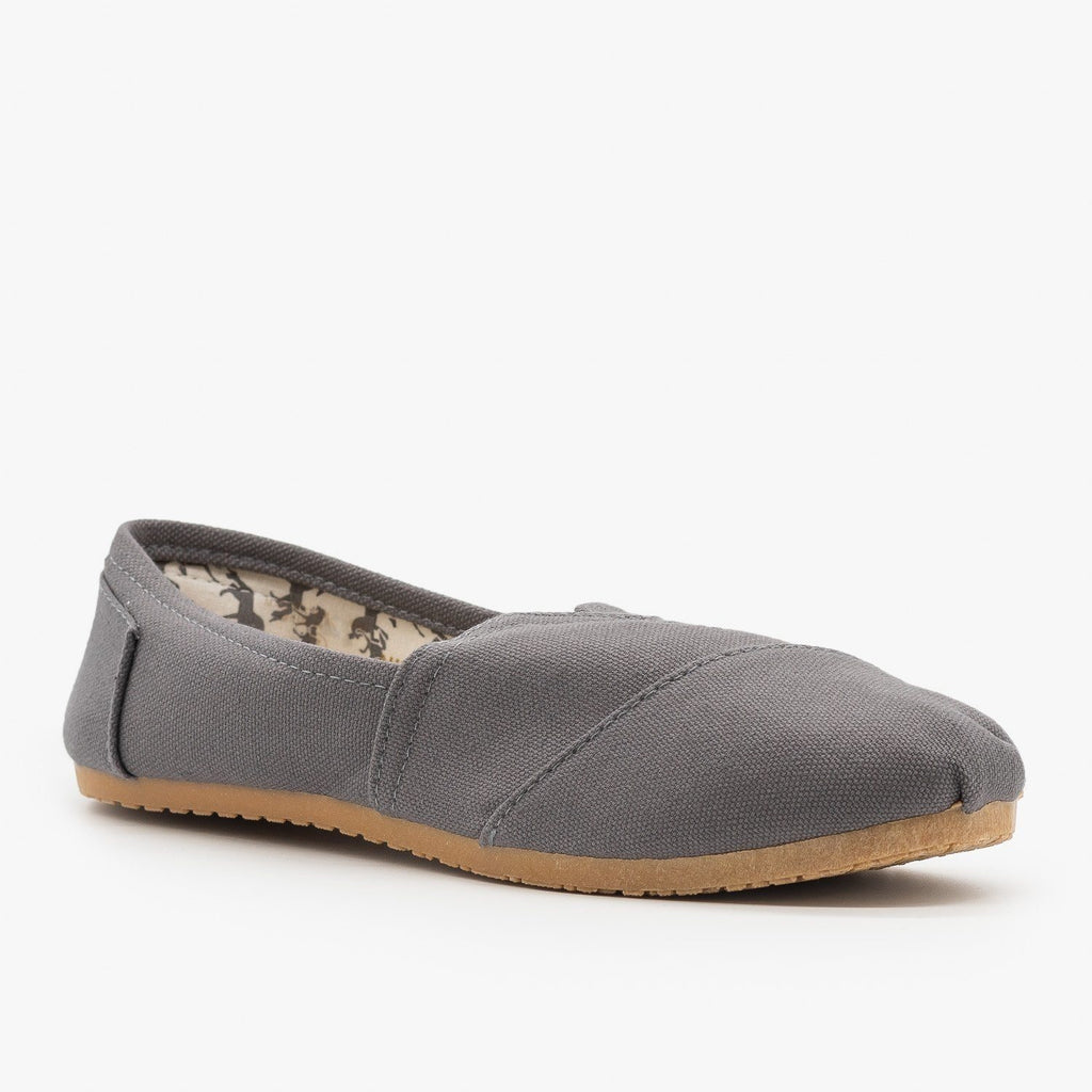 Womens Everyday Canvas Slip-On Flats - Refresh - Charcoal / 5