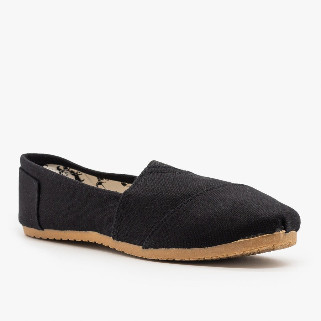 Womens Everyday Canvas Slip-On Flats - Refresh - Black / 5