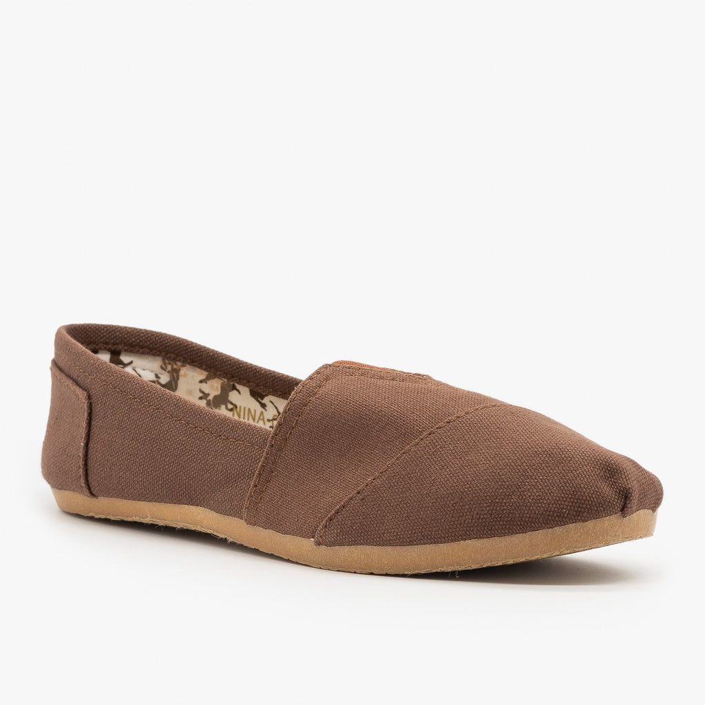 Womens Everyday Canvas Slip-On Flats - Refresh - Brown / 5
