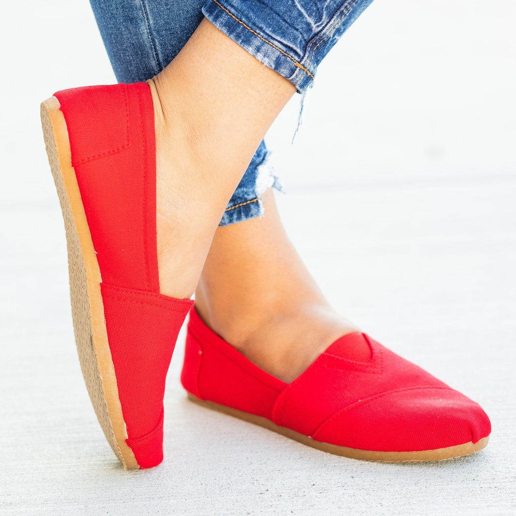 Womens Everyday Canvas Slip-On Flats - Refresh - Red / 5