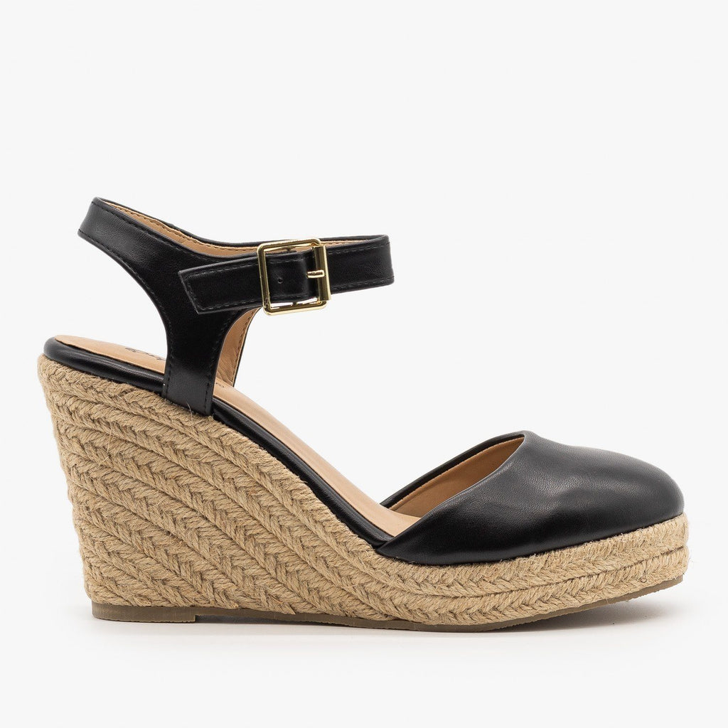 Womens Everyday Closed-Toe Espadrille Wedges - Qupid Shoes - Black / 5