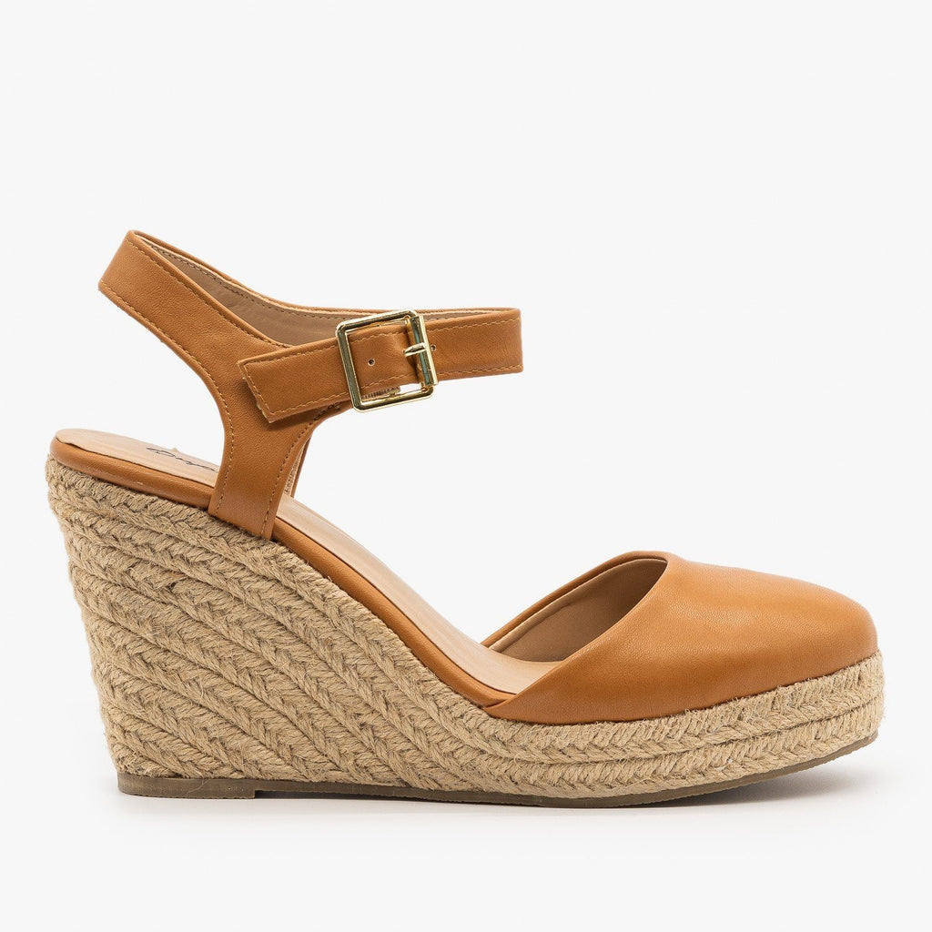 Womens Everyday Closed-Toe Espadrille Wedges - Qupid Shoes - Camel / 5