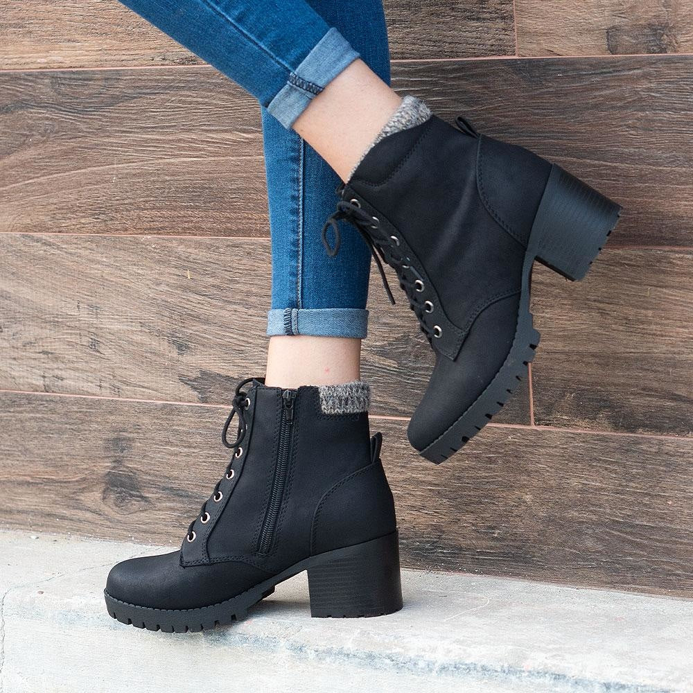 Women's Everyday Combat Booties - Soda Shoes - Black / 5