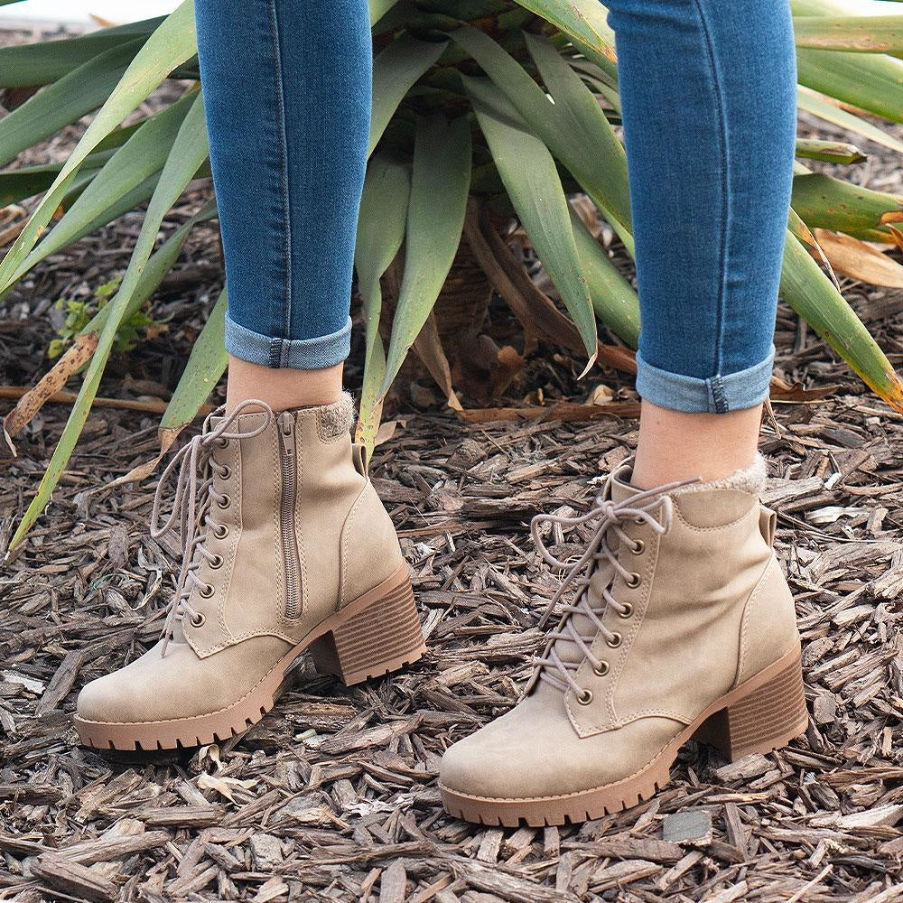 Women's Everyday Combat Booties - Soda Shoes - Light Taupe / 5