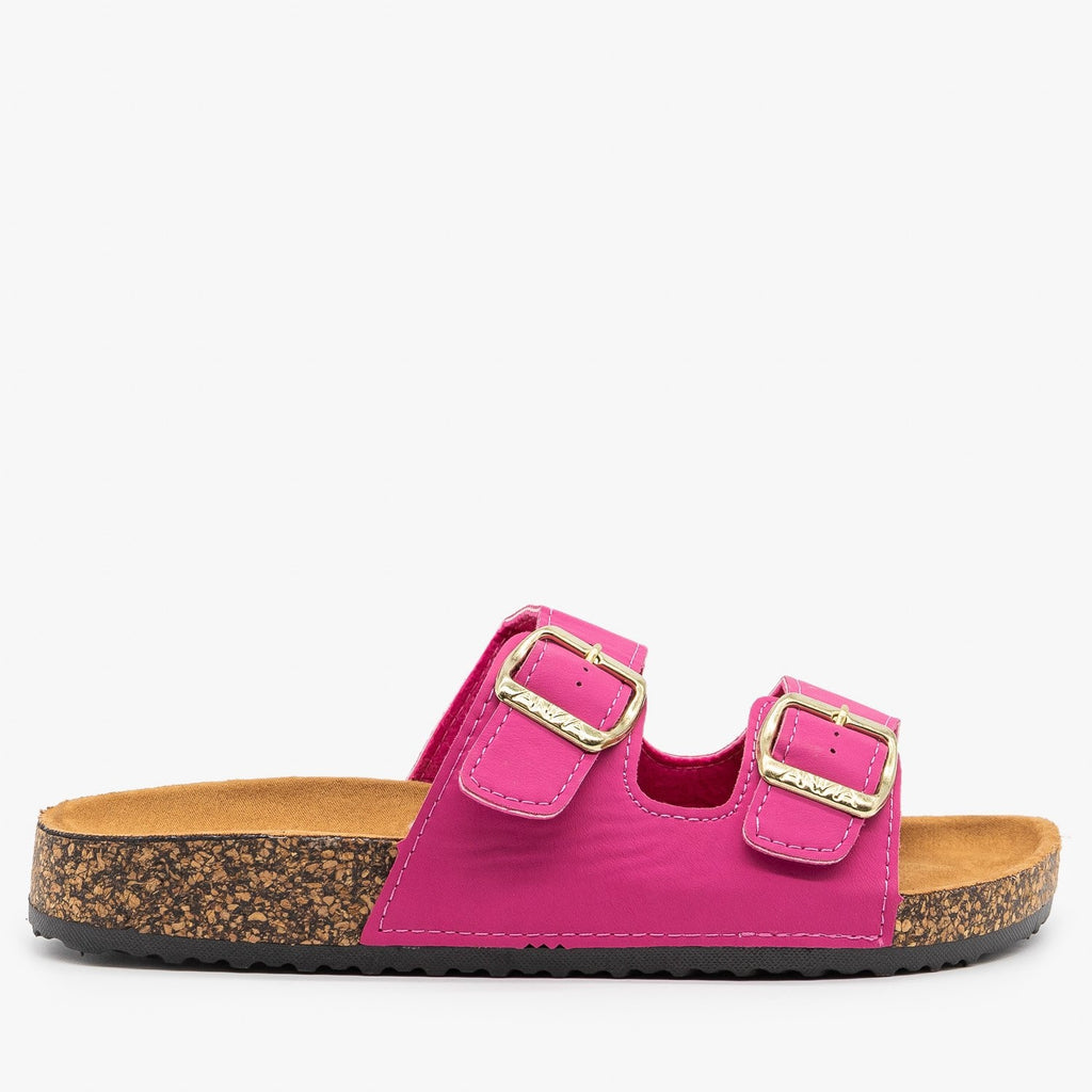 Womens Everyday Comfy Double Buckle Sandals - Anna Shoes - Fuchsia / 5