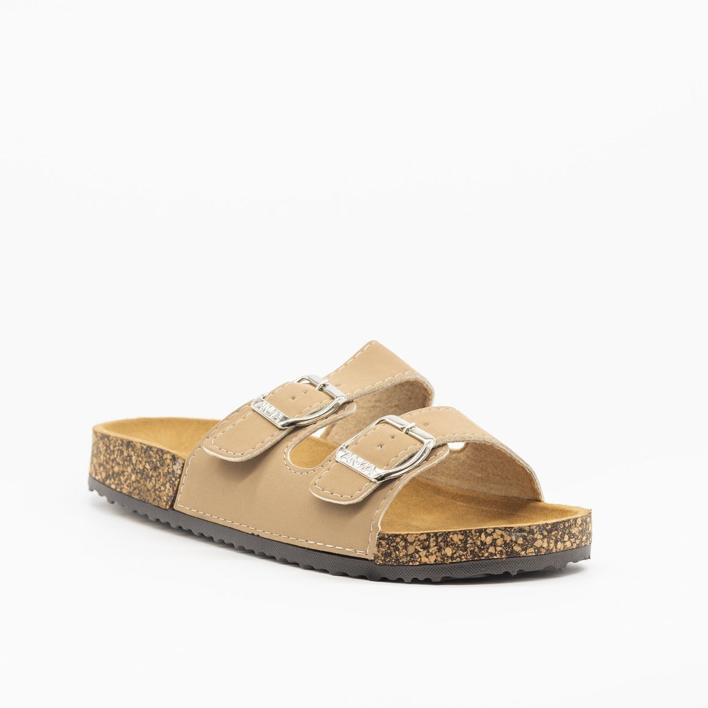 Womens Everyday Comfy Double Buckle Sandals - Anna Shoes - Taupe / 5