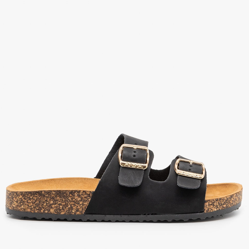 Womens Everyday Comfy Double Buckle Sandals - Anna Shoes - Black / 5