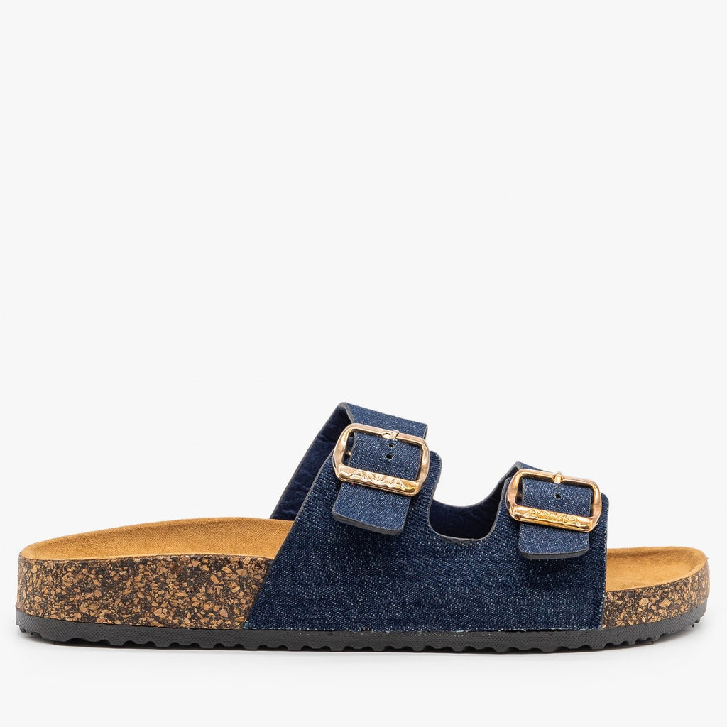 Womens Everyday Comfy Double Buckle Sandals - Anna Shoes - Blue Denim / 5