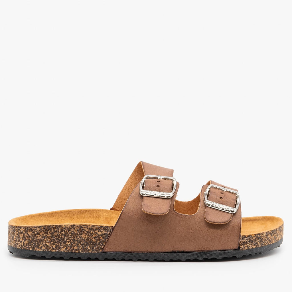Womens Everyday Comfy Double Buckle Sandals - Anna Shoes - Tan / 5