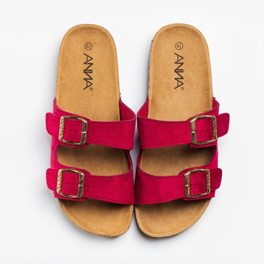 Womens Everyday Comfy Double Buckle Sandals - Anna Shoes - Red / 5