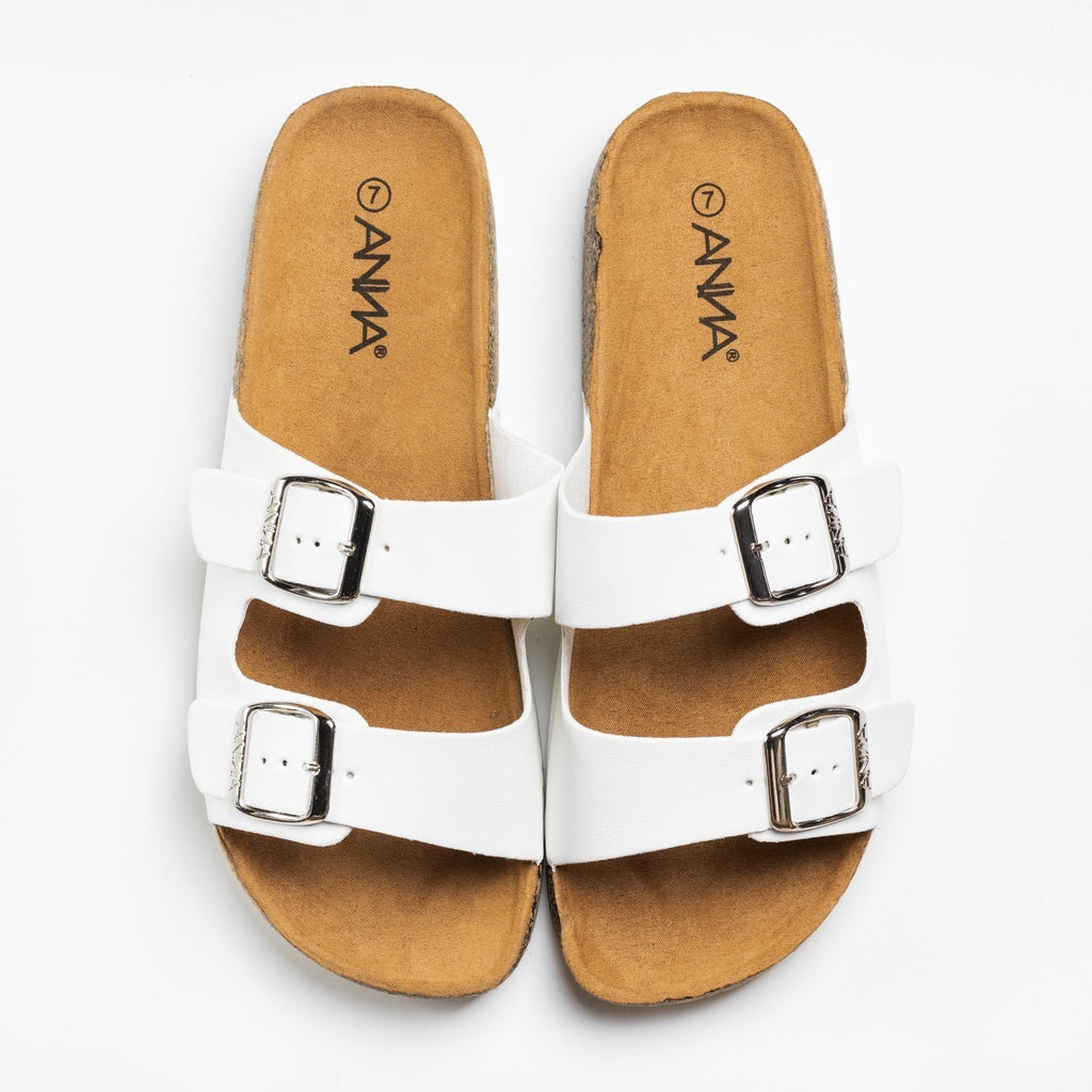 Womens Everyday Comfy Double Buckle Sandals - Anna Shoes - White / 5
