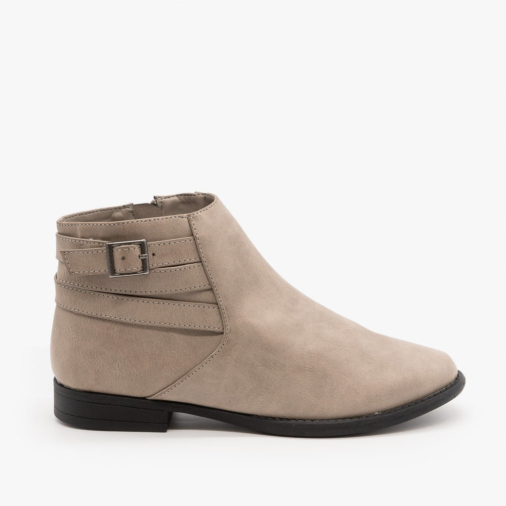 Womens Everyday Criss Cross Buckle Booties - Bamboo Shoes - Gray / 5
