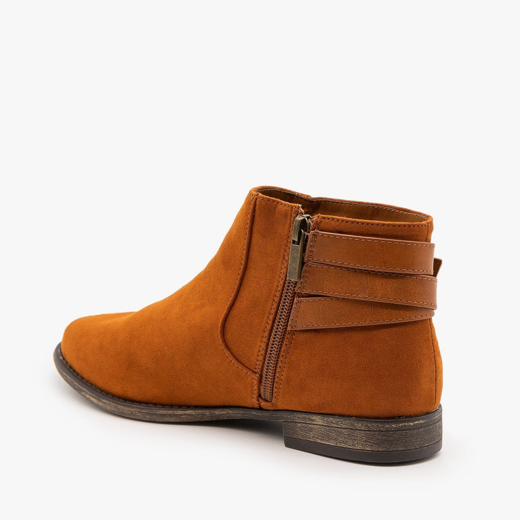 Womens Everyday Criss Cross Buckle Booties - Bamboo Shoes