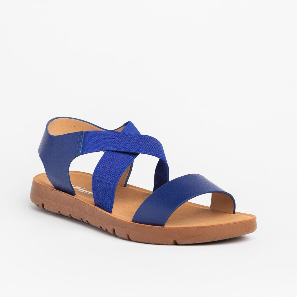 Womens Everyday Elastic Strap Fashion Sandals - Forever - Blue / 5