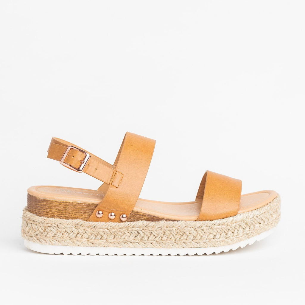 Womens Everyday Espadrille Flatform Sandals - Fashion Focus - Nude / 5