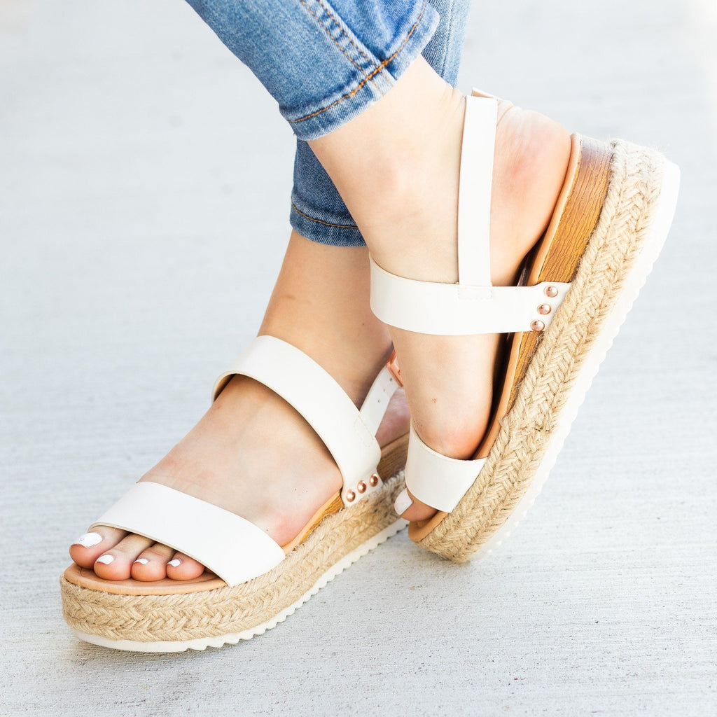 Womens Everyday Espadrille Flatform Sandals - Fashion Focus
