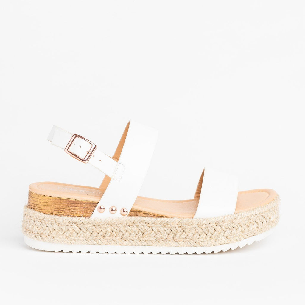 Womens Everyday Espadrille Flatform Sandals - Fashion Focus - White / 5