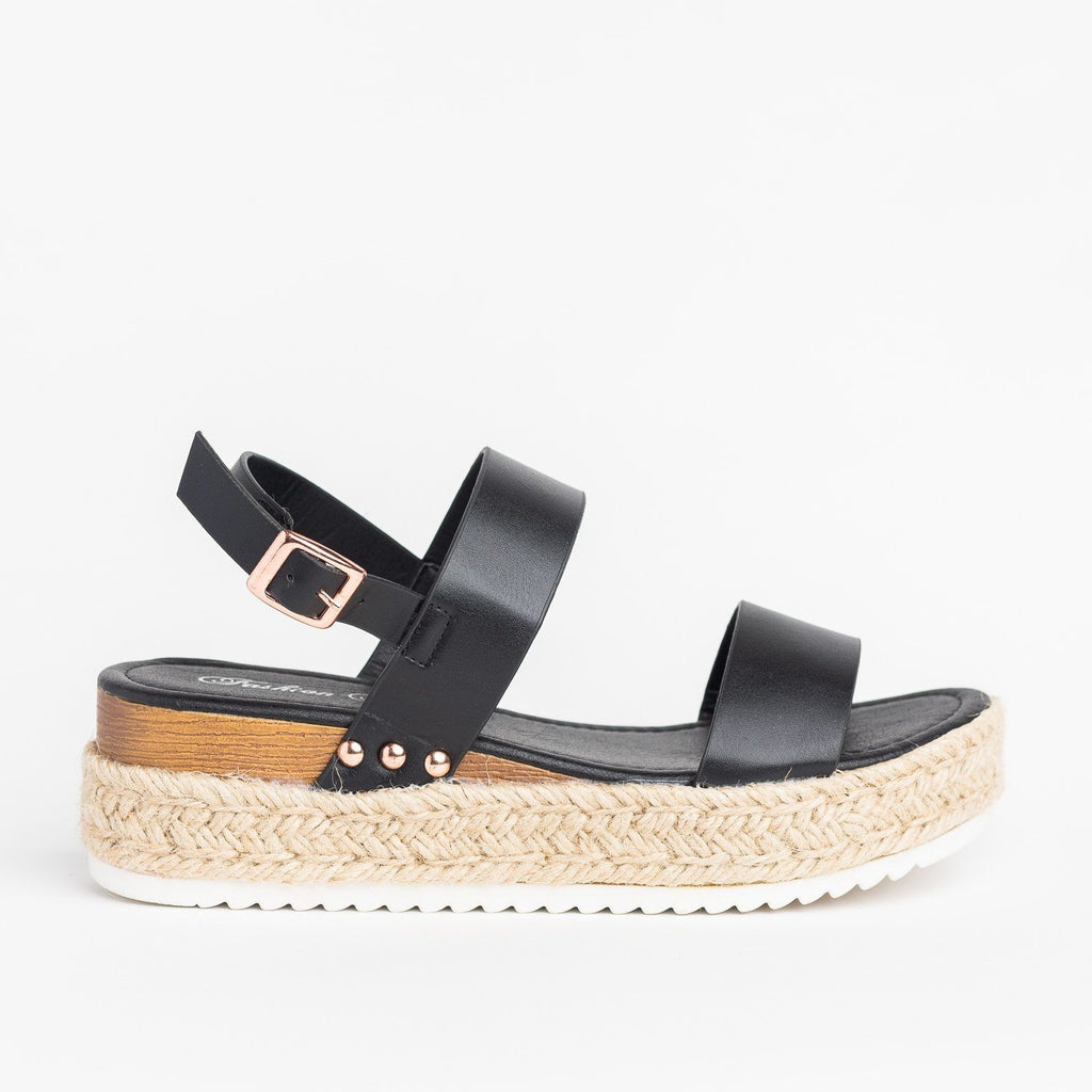 Womens Everyday Espadrille Flatform Sandals - Fashion Focus - Black / 5