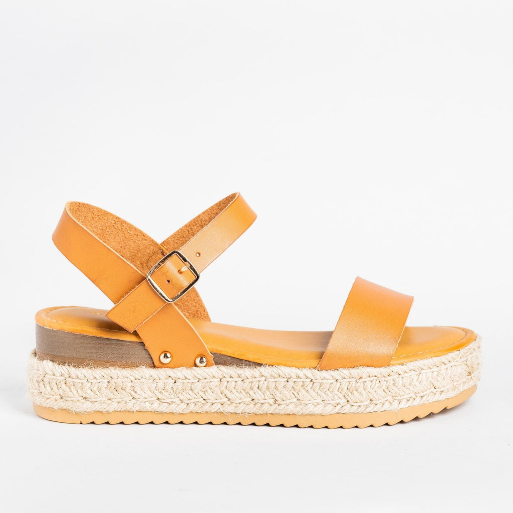 Womens Everyday Espadrille Flatforms - Bamboo Shoes - Tan / 5