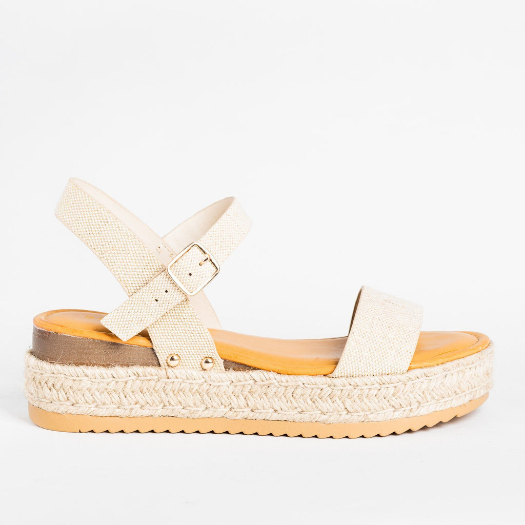 Womens Everyday Espadrille Flatforms - Bamboo Shoes - Natural / 5